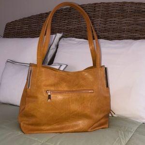 Madison West Tan Vegan Leather Shoulder Bag NEW